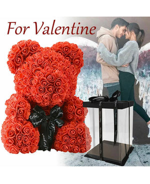 25cm/40cm Foam Rose Flower Christmas Gift Rose Teddy Bear For Birthday Wedding