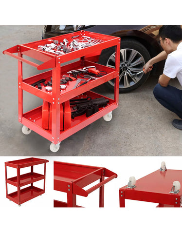 Heavy Duty Garage Trolley Tool Storage Workshop DIY 3 Tier Wheel Cart Shelf