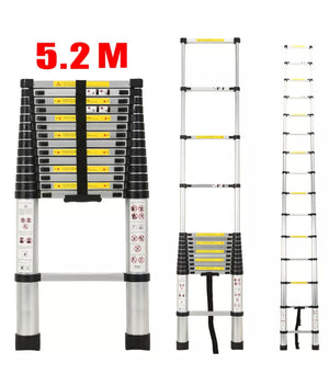 5.2m Aluminium Telescopic Extendable Ladder Step