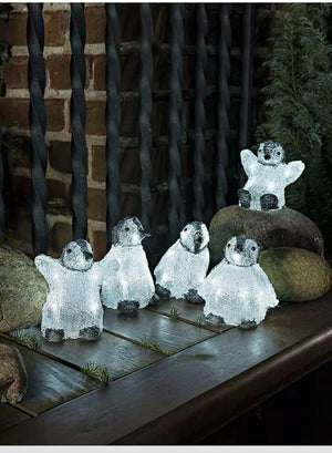 5 Piece Acrylic PENGUINS LEDs light Christmas Xmas indoor/outdoor