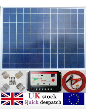 50w Solar Panel Kit + 10A PWM Charger Controller + 4m Cable fuse & Clips 12v Battery
