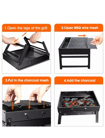 Portable Foldable BBQ Barbecue Charcoal Grill for Outdoor Cooking Camping Hiking Picnics