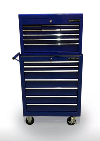 Image of PRO TOOL BOX CHEST ROLLER CABINET STEEL 16 DRAWERS GLOSS BLACK / RED / BLUE