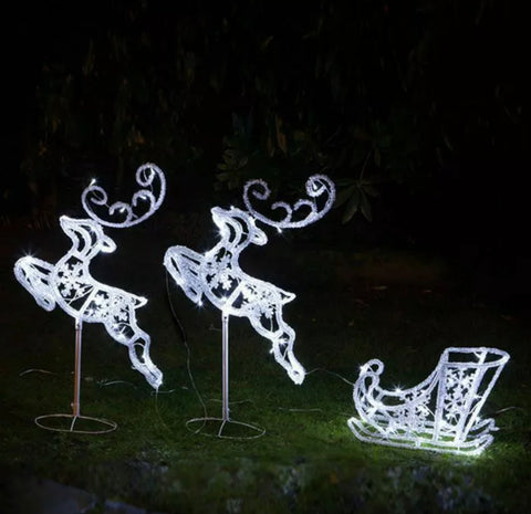 Flying Reindeer's and Sleigh Outdoor Christmas Xmas Display
