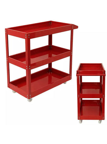 Image of Heavy Duty Garage Trolley Tool Storage Workshop DIY 3 Tier Wheel Cart Shelf