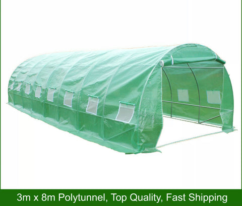 3m x 8m Polytunnel 25mm Galvanised Frame Greenhouse