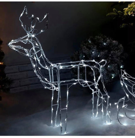 Image of Christmas Animated Reindeer and Sleigh Silhouette Bright White LEDs 80 cm