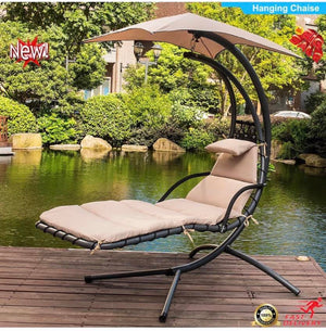 DELUXE PATIO GARDEN HAMMOCK SWING CHAIR LOUNGER