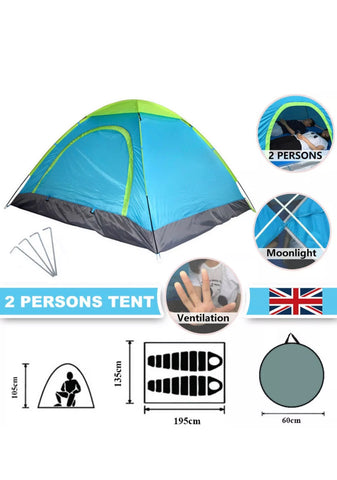 Image of Brand New 2 Man Quick Pop Up Tent Waterproof Camping Festival Beach