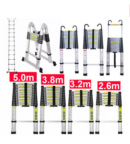 Image of Aluminium Telescopic Ladder 2.6M TO 6M Heavy Duty