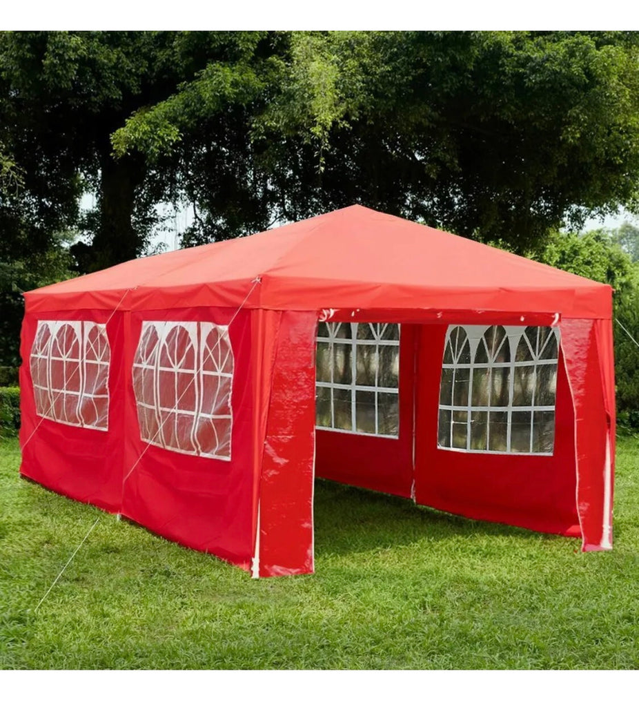 3X6M WITH 6 SIDES MARQUEE GAZEBO TENT GARDEN PARTY WATERPROOF CANOPY SHELTER WINDBARS