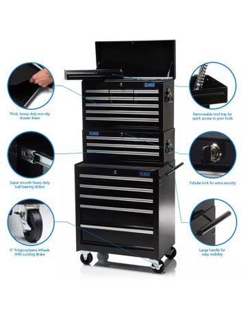 HEAVY DUTY PROFESSIONAL 17 DRAWER TOOL CHEST, MIDDLE & CABINET