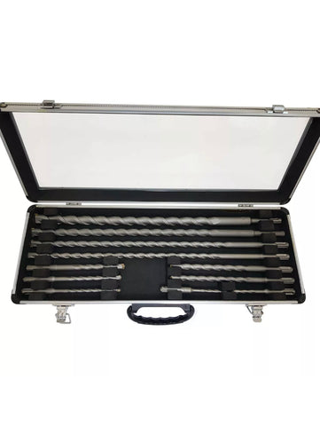 Image of 11 PIECE SDS+ DRILL BIT SET IN ALUMINIUM CASE STEEL TIP SELF FEEDING AUGER BITS