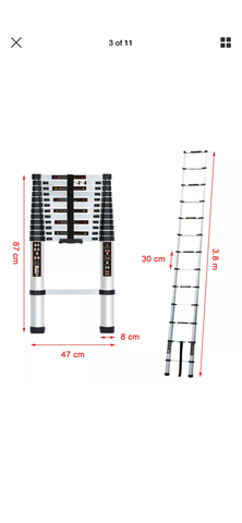 Image of 3.8M Portable Heavy Duty Multi-Purpose Aluminium Telescopic Ladder Extendable EN131