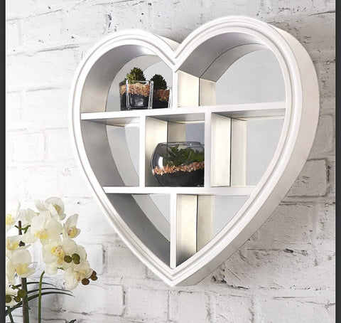 Image of Beautiful Heart Mirror Shelf Grey or White