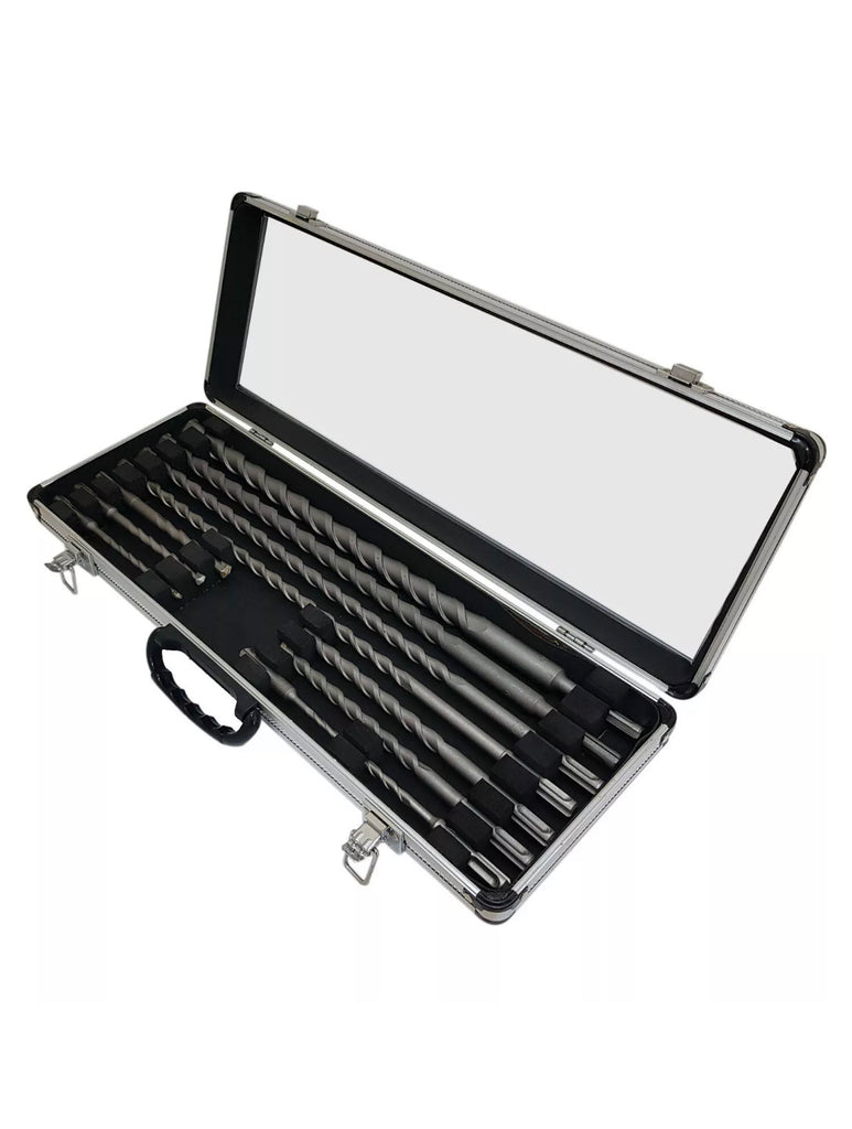 11 PIECE SDS+ DRILL BIT SET IN ALUMINIUM CASE STEEL TIP SELF FEEDING AUGER BITS