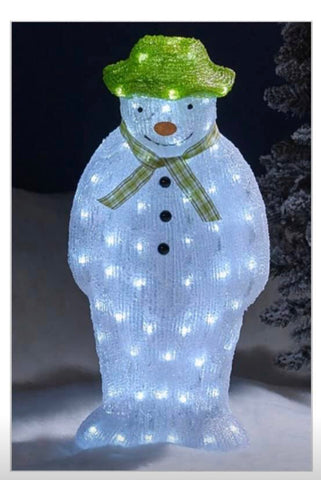 Image of The Snowman Christmas Outdoor Garden Decoration - 55cm - 100 Ice White LED's