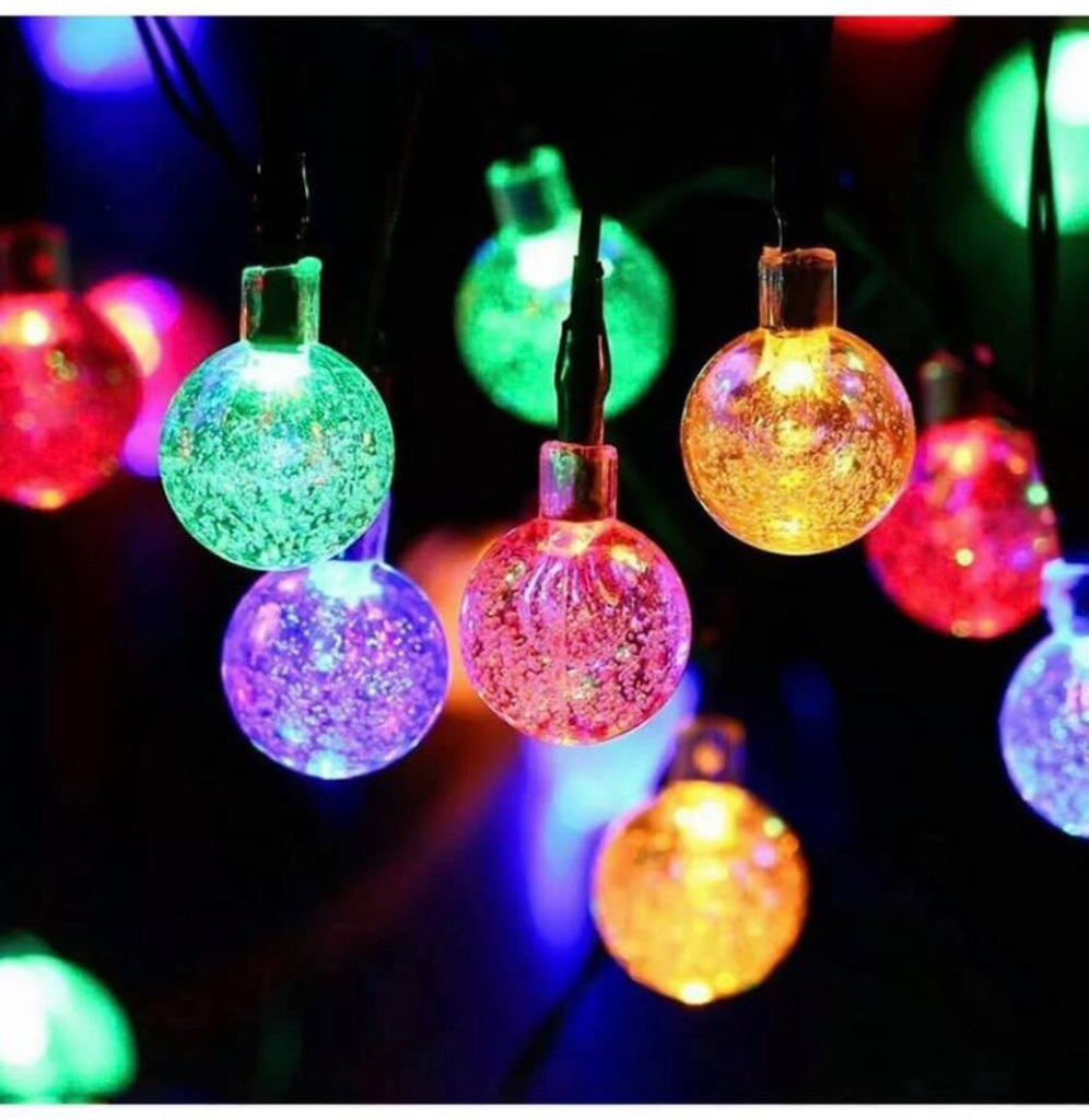 30 LED Solar Powered Garden Party String Fairy Lights Crystal Ball Various Colours