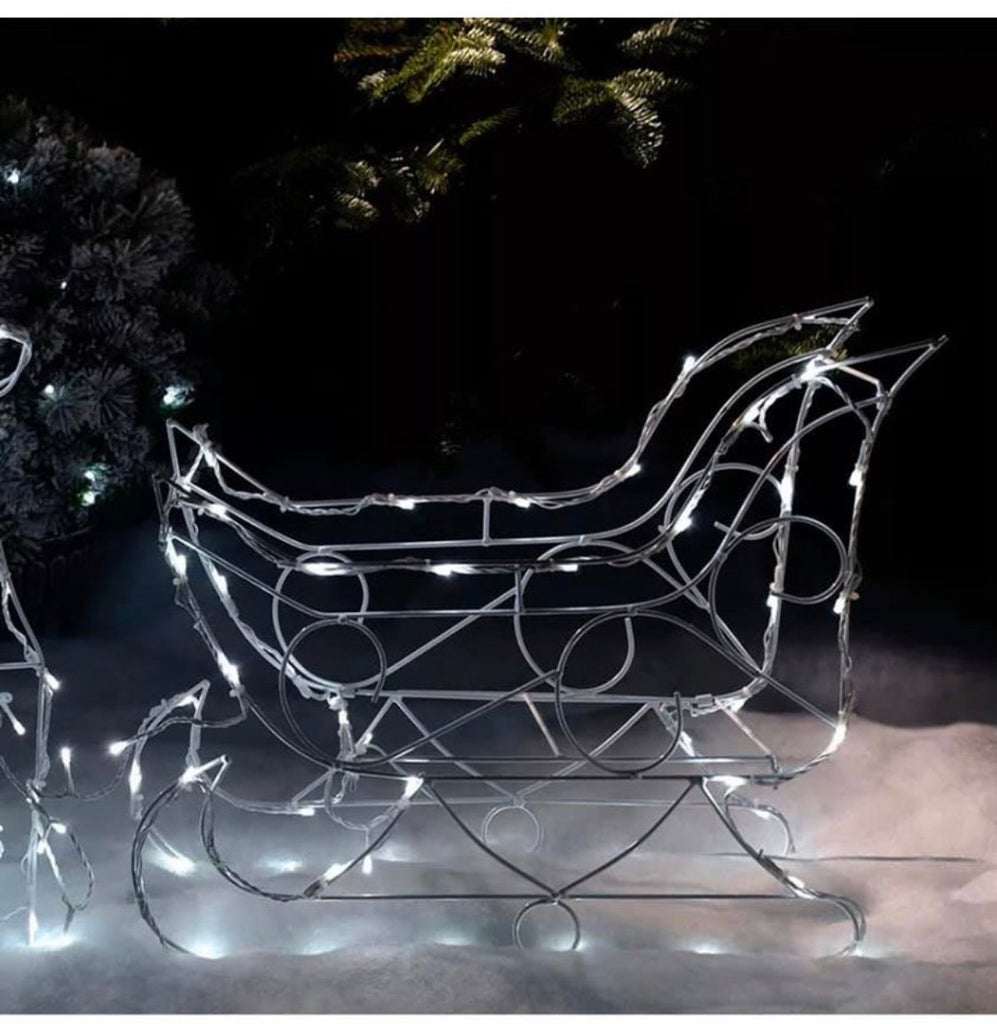 Christmas Animated Reindeer and Sleigh Silhouette Bright White LEDs 80 cm