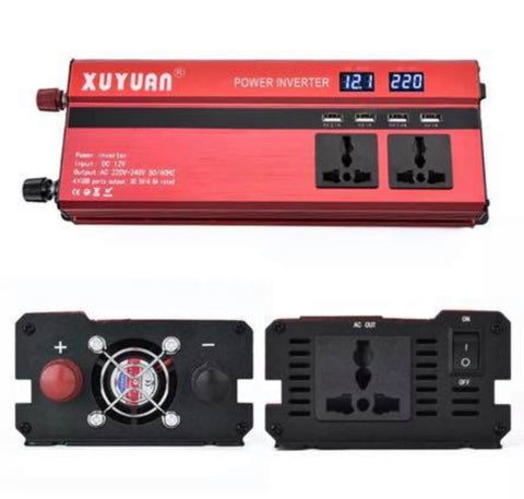 Power Inverter 2000W/4000W DC 12V to AC 220V Sine Wave Convert with 4 USB Ports 2 Sockets