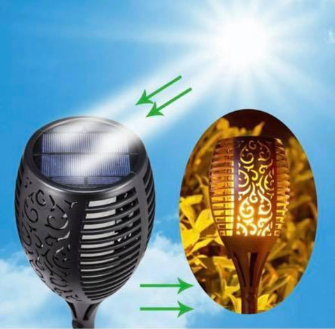 Image of Brand New Solar Garden Lights waterproof LED flickering flames torch landscape