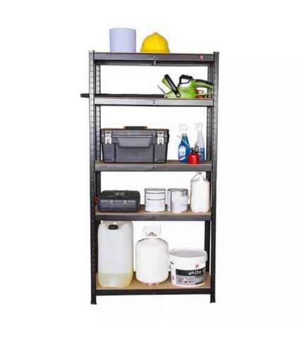 Image of Heavy Duty Black Metal Garage Shelving Racking Unit Storage Rack 180 x 90 x 40cm