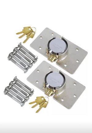 Heavy Duty High Quality Steel Padlock & Hasp x 2 Van Lock Set with 4 keys & bolts