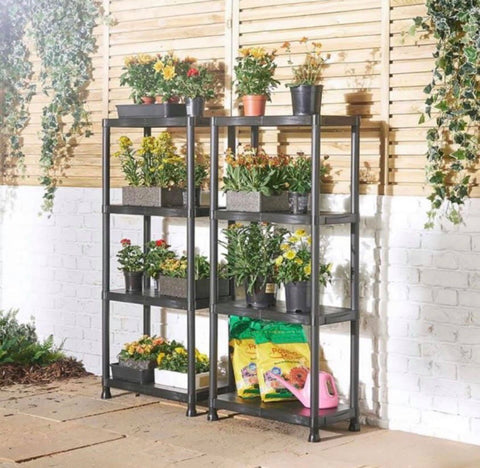 Image of 2 x Shelving Unit with 4 Tier in Black