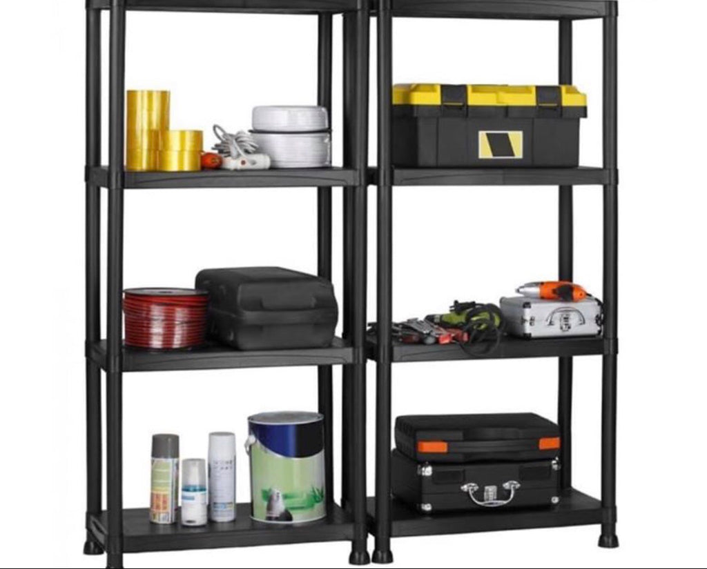 2 x Shelving Unit with 4 Tier in Black
