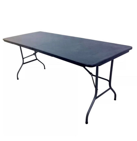HEAVY DUTY Black / White 1.8M FOLDING TABLE 6FT FOOT CATERING CAMPING  MARKET BBQ