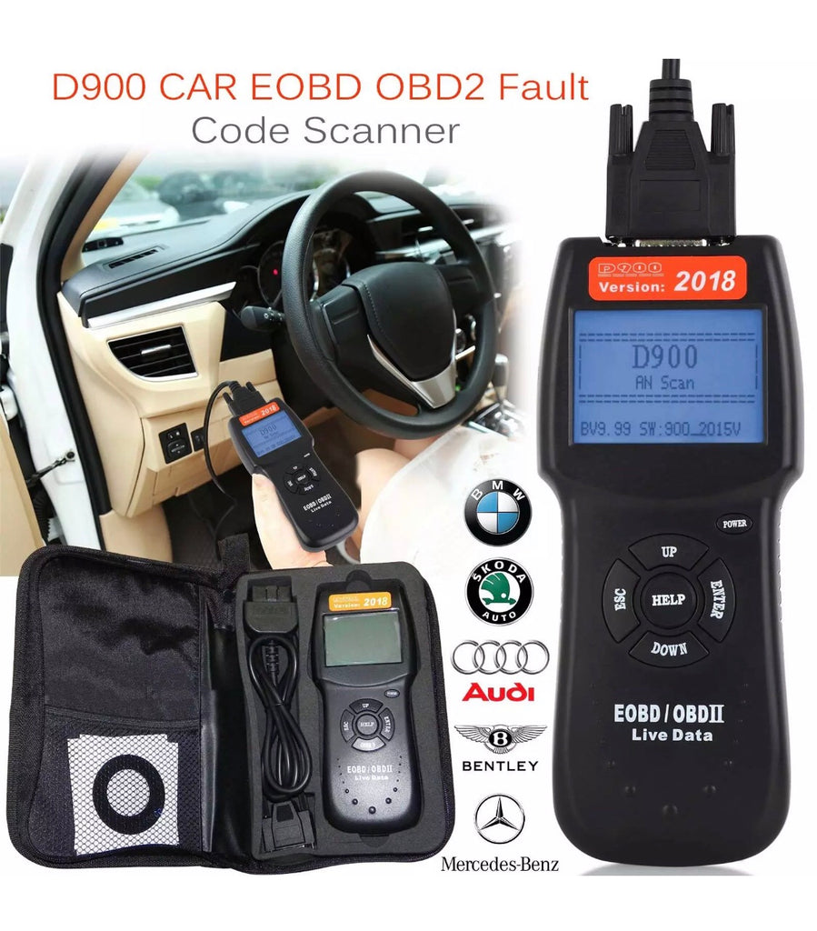2018 Universal Car Fault Code Reader D900 OBD2 EOBD CAN Diagnostic Scanner Tool