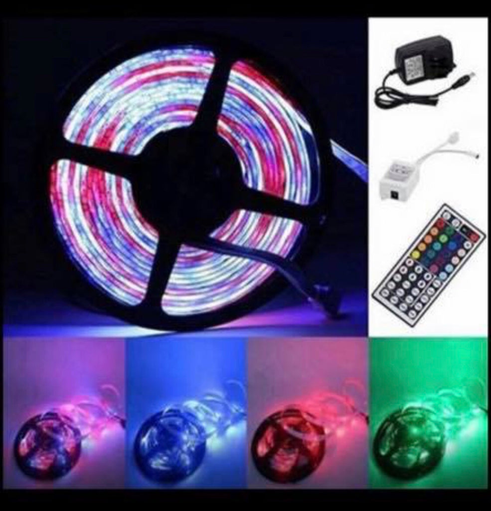 5M Waterproof RGB LED Strip 3528 Light Power Supply Adapter 44Key IR Remote Kit