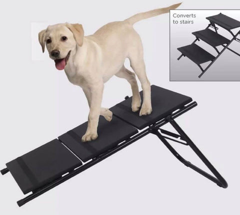 Image of 2 in 1 Dog Pet Puppy Ramp & Stairs Folding Lightweight Portable Cat Travel Step