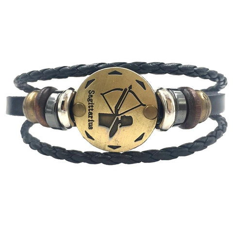 12 Constellations Leather Bracelet Unisex - Free Productz
