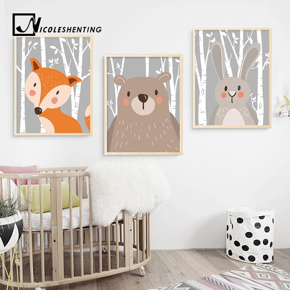 Rabbit Fox Bear Animal Nursery Posters and Prints Wall Art Canvas Painting Decorative Picture Nordic Style Kids Decoration - Free Productz