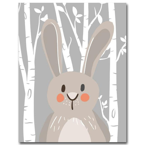 Image of Rabbit Fox Bear Animal Nursery Posters and Prints Wall Art Canvas Painting Decorative Picture Nordic Style Kids Decoration - Free Productz
