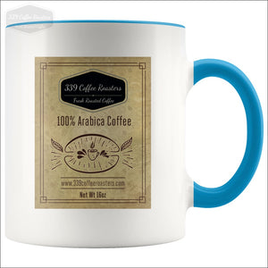 Accent Coffee Label Mug - Blue - Drinkware 339 Coffee Roasters