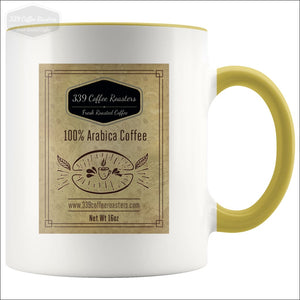 Accent Coffee Label Mug - Yellow - Drinkware 339 Coffee Roasters