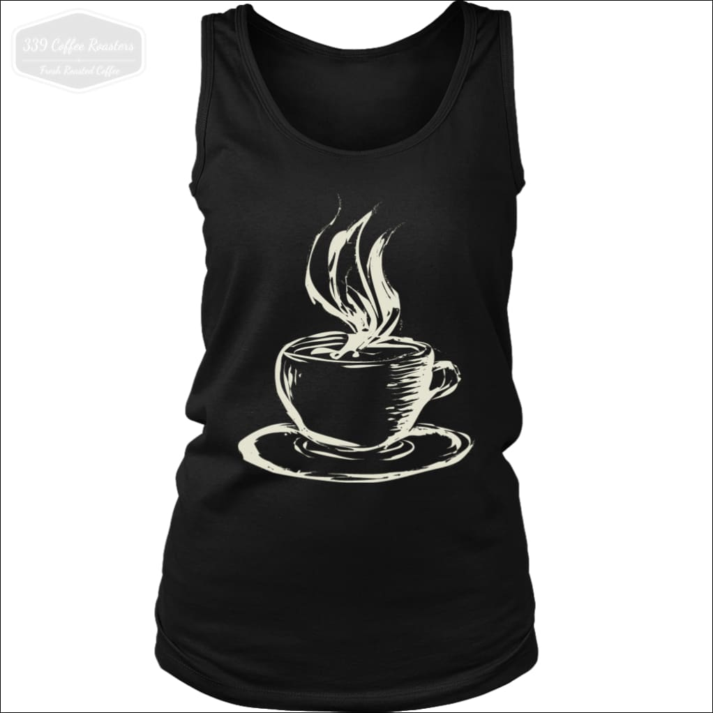 Ladies Hot Coffee Tank Top - District Womens Tank / Black / S - T-Shirt 339 Coffee Roasters