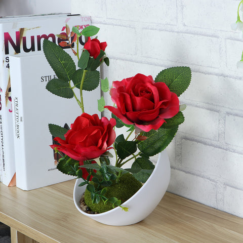 Artificial Rose Plant with Pot-Smart Garden Shop