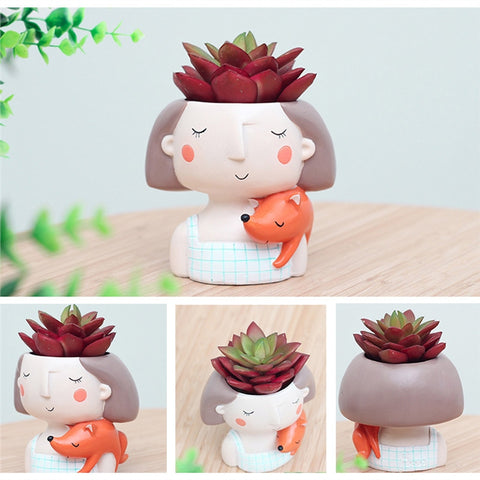4 Pcs Lovely Girl Flowers Pots-Smart Garden Shop