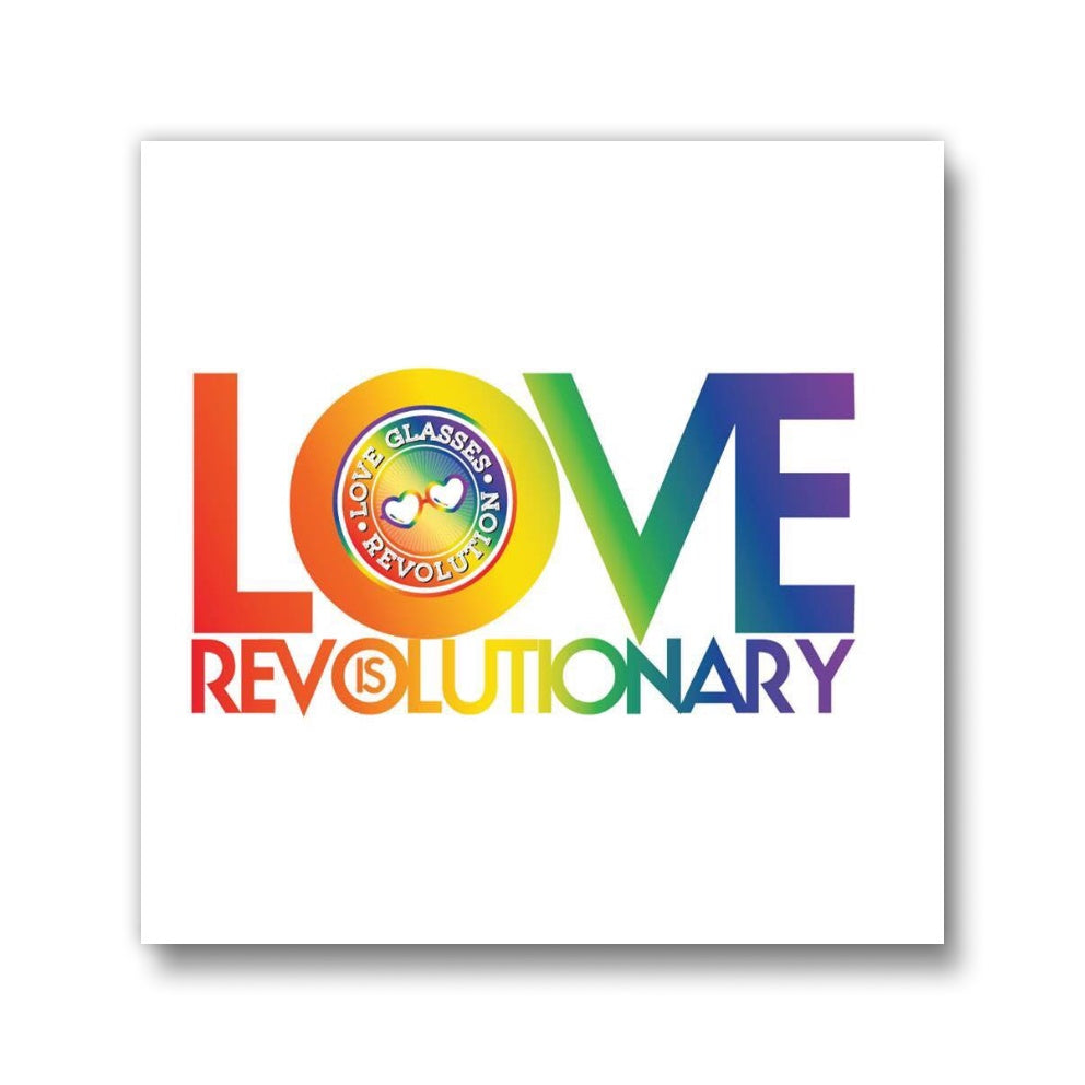 "1.5 "" Love is Revolutionary Square Button"