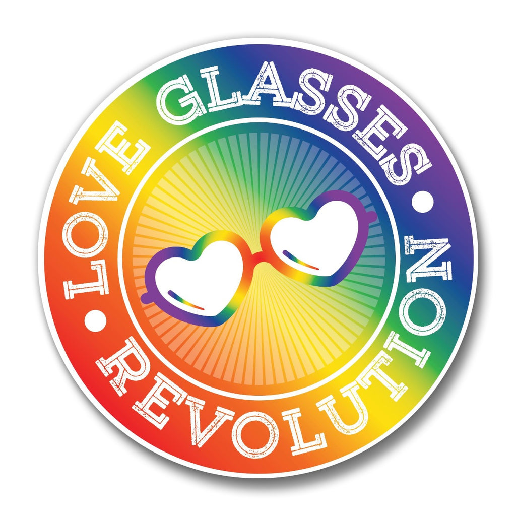 "1.75 "" Round Love Glasses Revolution Logo Button!"