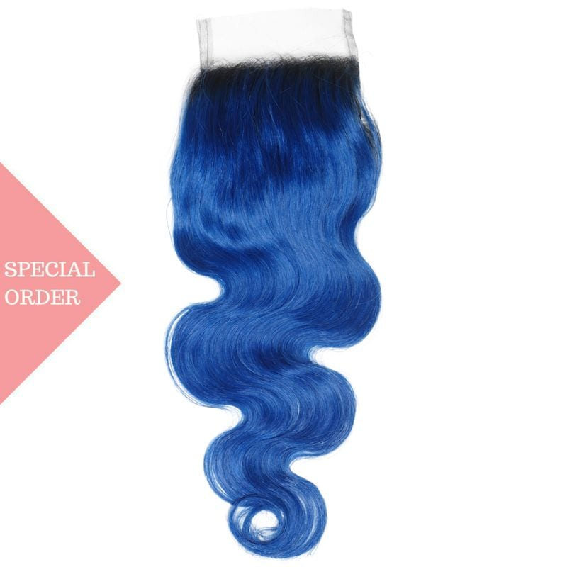 Blue Ombre Body Wave Closure
