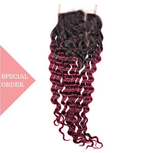 Brazilian Raspberry Ombre Deep Wave Closure