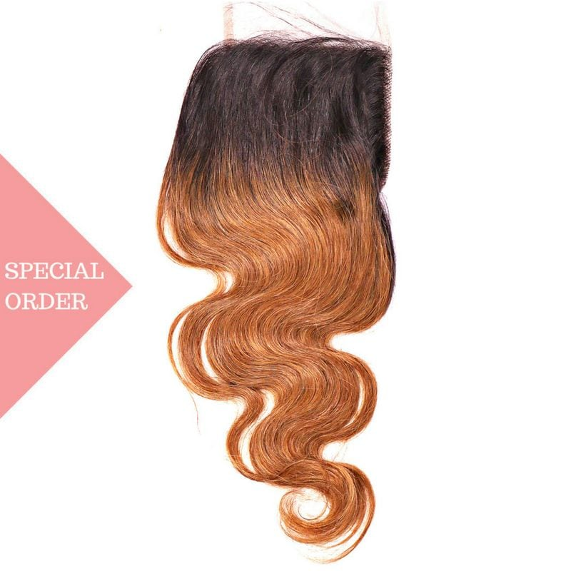 Copper Ombre Body Wave Closure