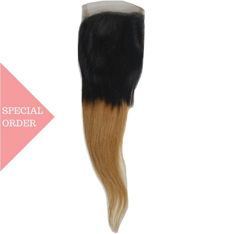 Honey Blonde Low Ombre Straight Closure