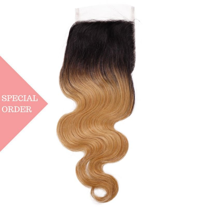 Honey Blonde Ombre Body Wave Closure