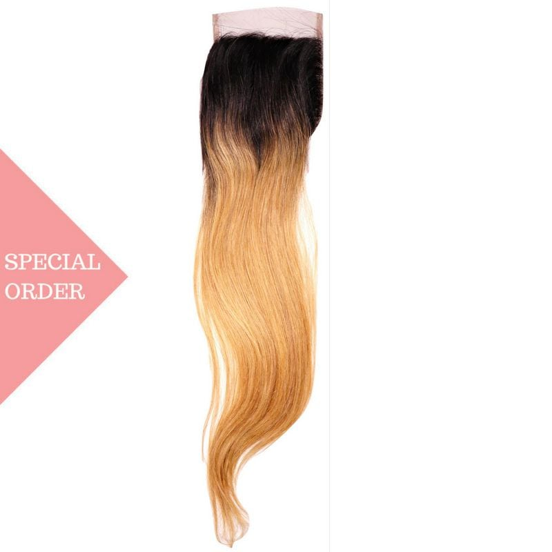 Honey Blonde High Ombre Straight Closure