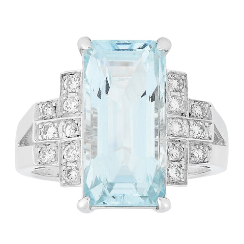 *NEW* Aquamarine and Diamond Ring, 18ct White Gold